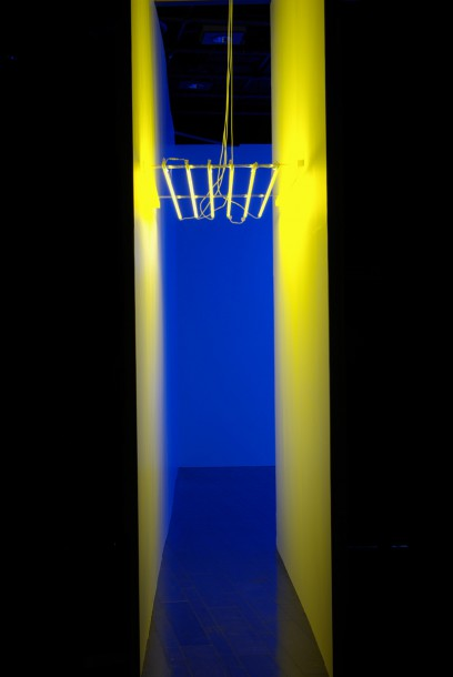 Yellow Light and Blue Signs